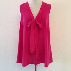 Lilly Pulitzer Hot Pink Bow Silk Blouse Size M